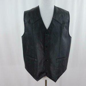 USA Leather Black Motorcycle Vest Mens Sz XL